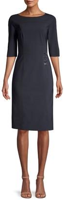 HUGO BOSS Disoma Stretch Virgin Wool-Blend Faux Wrap Dress