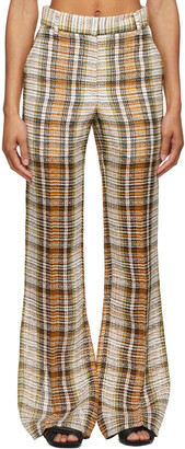 Victoria Beckham Tan & Green Split Hem Straight Leg Trousers