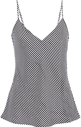 Frame Striped Washed-silk Camisole