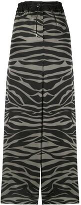 Sacai Satin Zebra-Print Palazzo Trousers