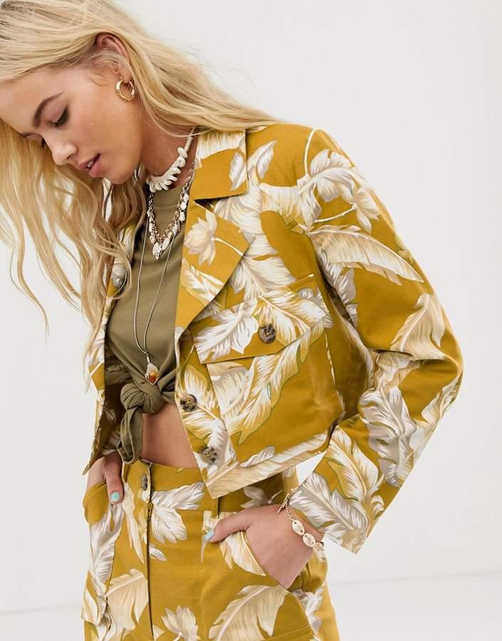 Blazer Print Design Tropical Linen Cropped Suit kXNnOZ0P8w