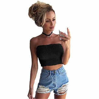 Lazzboy Women Lazzboy Tube Crop Tops Womens Sleeveless Strapless Pleated Size 8-14 Ladies Sexy Loose Blouse Six Colour(L(12)