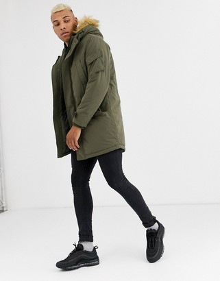 Bershka parka with borg lined hood and detachable fur in khaki-Green
