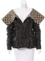Oscar de la Renta Belted Faux Leather Jacket