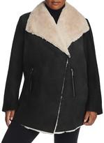 Calvin Klein Plus Asymmetrical Faux Shearling Coat