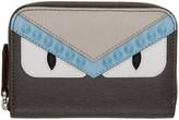 Fendi Grey Mini 'Bag Bugs' Zip Around Wallet