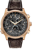 Citizen At4113-06e Eco-drive Chronograph Date Leather Strap Watch, Brown/black