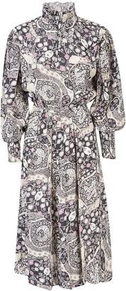Etoile Isabel Marant Ruffled High Neck Printed Long Dress
