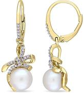 Laura Ashley 8-8.5mm FW Cultured Pearl and Diamond Yellow-Plated Silver Earrings