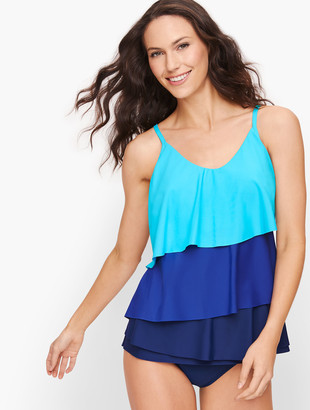 Talbots Miraclesuit Tiered Tankini Top - Soft Turquoise Multi