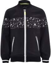 River Island Boys Black paint splatter bomber jacket