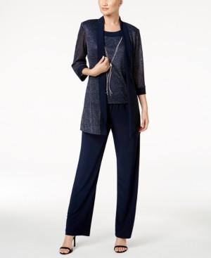 R & M Richards Petite Metallic Pantsuit, Shell & Necklace Set
