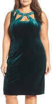 Eliza J Cutout Bodice Velvet Sheath Dress (Plus Size)