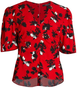 Derek Lam Ruched Floral Blouse
