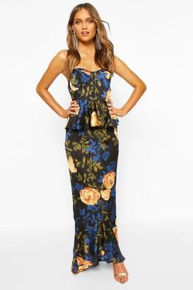 boohoo Satin Floral Cupped Peplum Maxi Dress