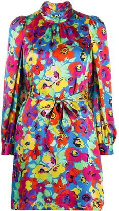 Essentiel Antwerp Floral-Print High-Neck Short Dress