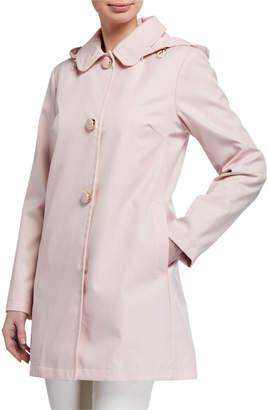 Kate Spade raincoat walker with detachable hood, blush rose