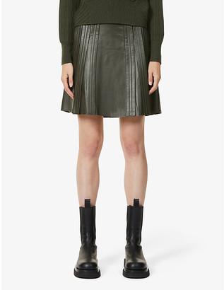 Sportmax Dinda pleated high-waist leather mini skirt