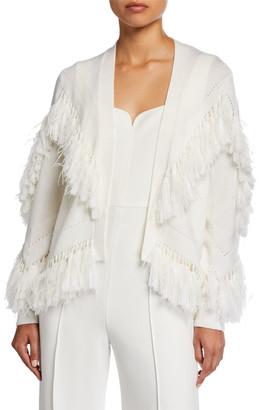 Kobi Halperin Clea Sweater with Fringe Ostrich Feathers