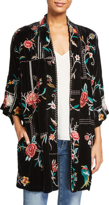 Johnny Was Uriah Floral Embroidered Velvet Kimono