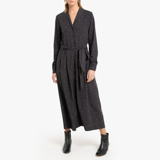 La Redoute Collections Printed Maxi Shirt Dress in Jacquard Flannel with Long Sleeves