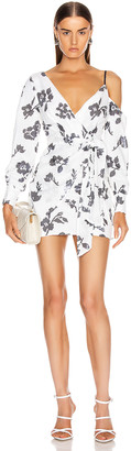 Self-Portrait Self Portrait Floral Sequin Wrap Dress in Ivory & Navy | FWRD