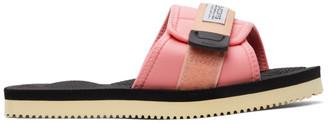 Suicoke Pink and Black Padri Sandals