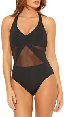 Bleu Rod Beattie Sheer Panel Cross-Back 1-Piece Swimsuit