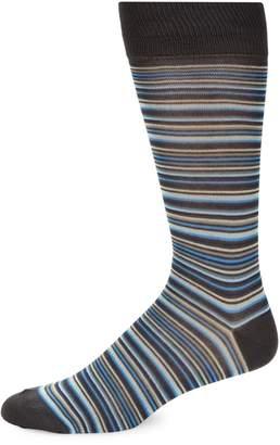 Saks Fifth Avenue Made In Italy Multi-Color Striped Crew Socks
