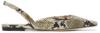Jimmy Choo Gini Python-effect Leather Slingback Flats - Python