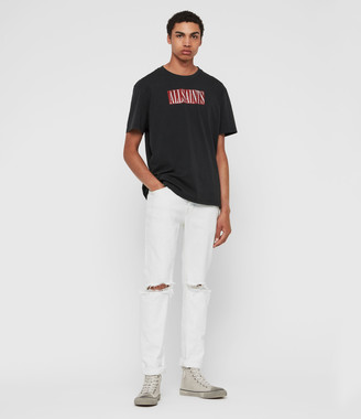 AllSaints Rex Damaged Slim Jeans, Bleached Indigo Blue