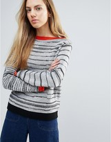 Shae Broken Stripes Sweater With Red Trim