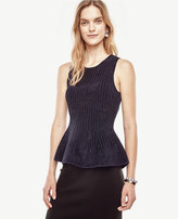 Ann Taylor Petite Striped Sleeveless Peplum Sweater