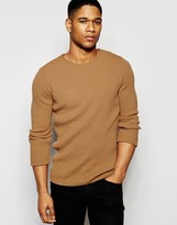 Asos Muscle Fit Ribbed Sweater in Camel
