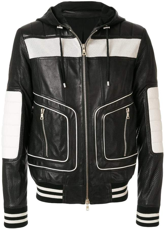 Balmain colour-block hooded biker jacket
