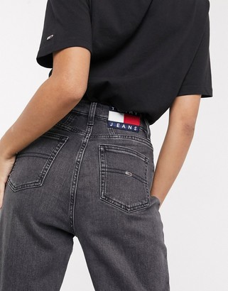 Tommy Jeans tapered mom jeans in washed black