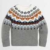J.Crew Factory Girls' shimmery Fair Isle popover sweater