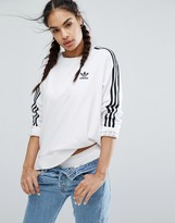 adidas White Three Stripe Sweatshirt