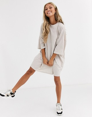 Asos Design DESIGN oversized t-shirt dress in oatmeal-Beige