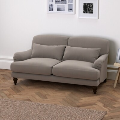 The White Company Petersham 2 Seater Velvet Sofa, Silver Grey Velvet, One Size