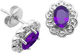 Lord & Taylor February Birthstone Sterling Silver Earrings