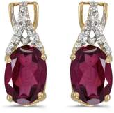 Direct-Jewelry 14k Yellow Gold Oval Rhodolite Garnet And Diamond Earrings