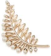 Carolee Pearl Glam Faux Pearl Goldtone Floral Leaf Pin