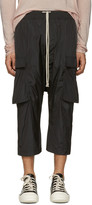Rick Owens Black Drawstring Cropped Cargo Pants