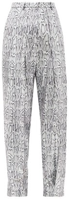 Christopher Kane Python-print Sequinned Faux-leather Trousers - Silver