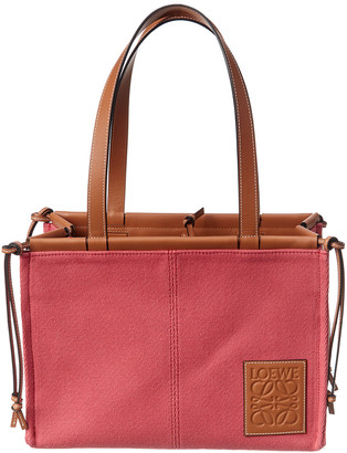Loewe Cushion Small Canvas & Leather Tote