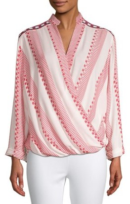 Creme Fraiche Women's Boho Embroidered Wrap Blouse