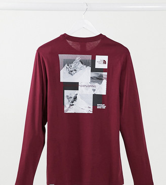 The North Face Stripe long sleeve t-shirt in red Exclusive at ASOS