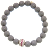 Sydney Evan Ruby Mala Bead on Grey Czech Beaded Bracelet - Yellow Gold