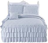 Serenta Matte Satin Ruffle 4 Piece Bed Spread Set, Light Blue, Queen